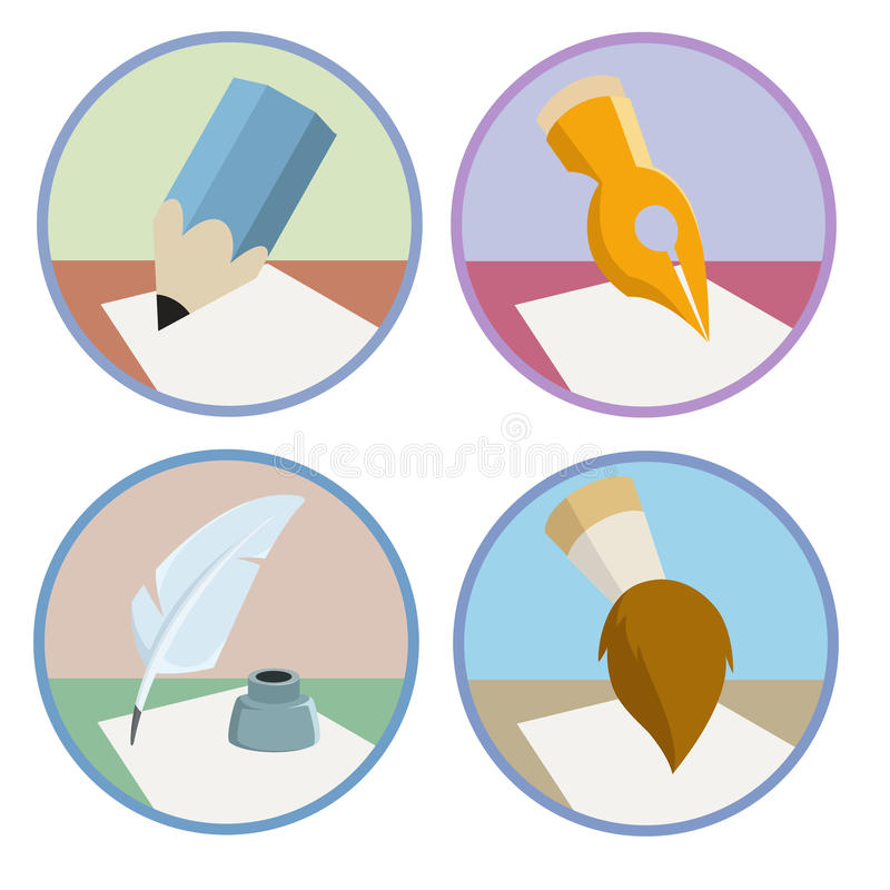 Set of the pen pencil brush icons royalty free illustration