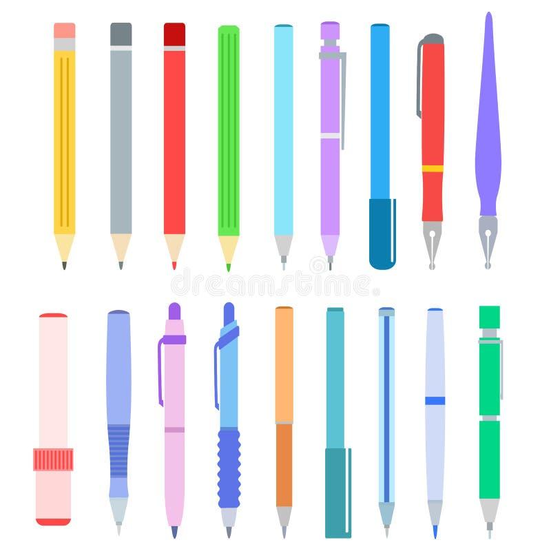 Set of pen, pencil, felt-tip pen and marker on white, stock vector illustration. Eps 10 vector illustration