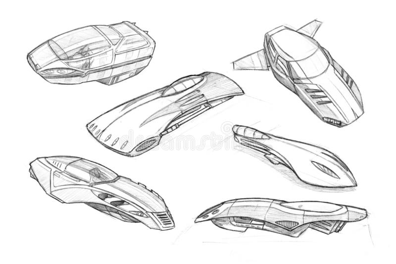 Set of Pencil Concept Art Drawings of Futuristic Hoover or Flying Cars or Vehicles. Set of black and white pencil concept art drawings of hoover or flying cars stock illustration