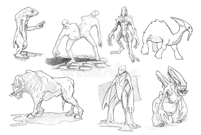 Set Of Pencil Or Ink Drawings Of Various Fantasy Warrior