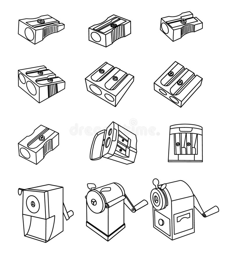 Set of pencil sharpener simple outline images. Premium quality isolated modern and retro sharpener elements in trendy vector illustration