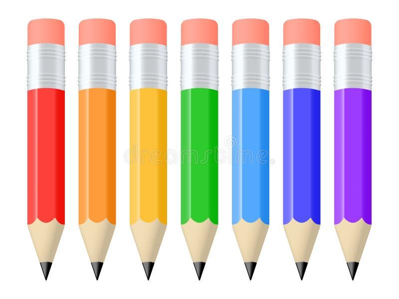 Set of pencils. Set of seven colorful pencils. Vector illustration stock illustration
