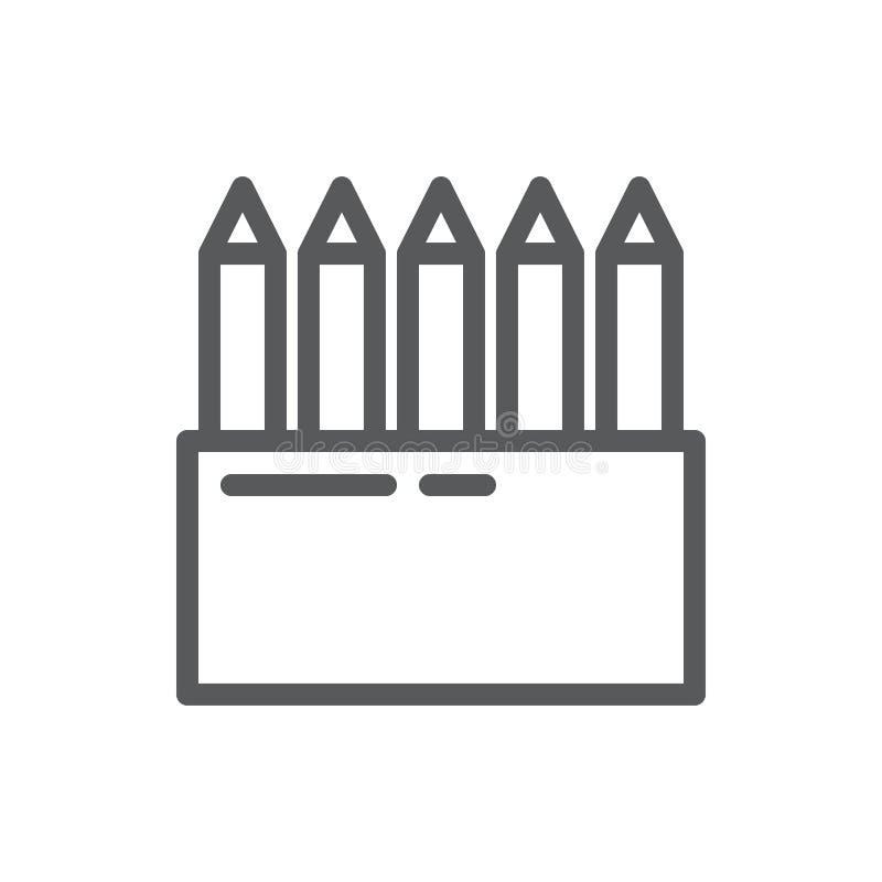 Set of pencils vector illustration editable icon - line pixel perfect symbol of sharp instrument for drawing or writing. Set of pencils vector illustration vector illustration