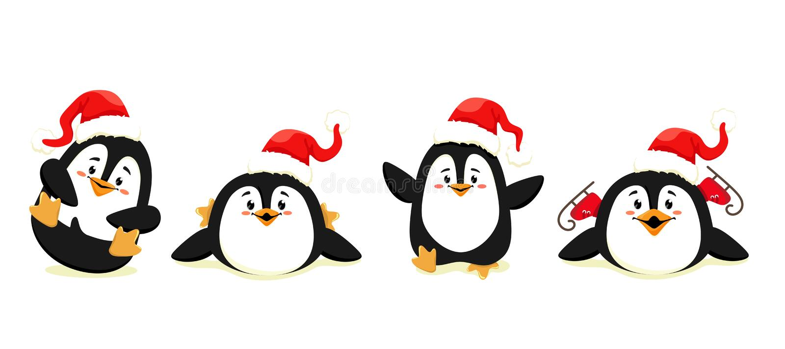 Set of cute and funny penguins in motion with red caps. Christmas penguins. Vector isolates on a white background. royalty free illustration