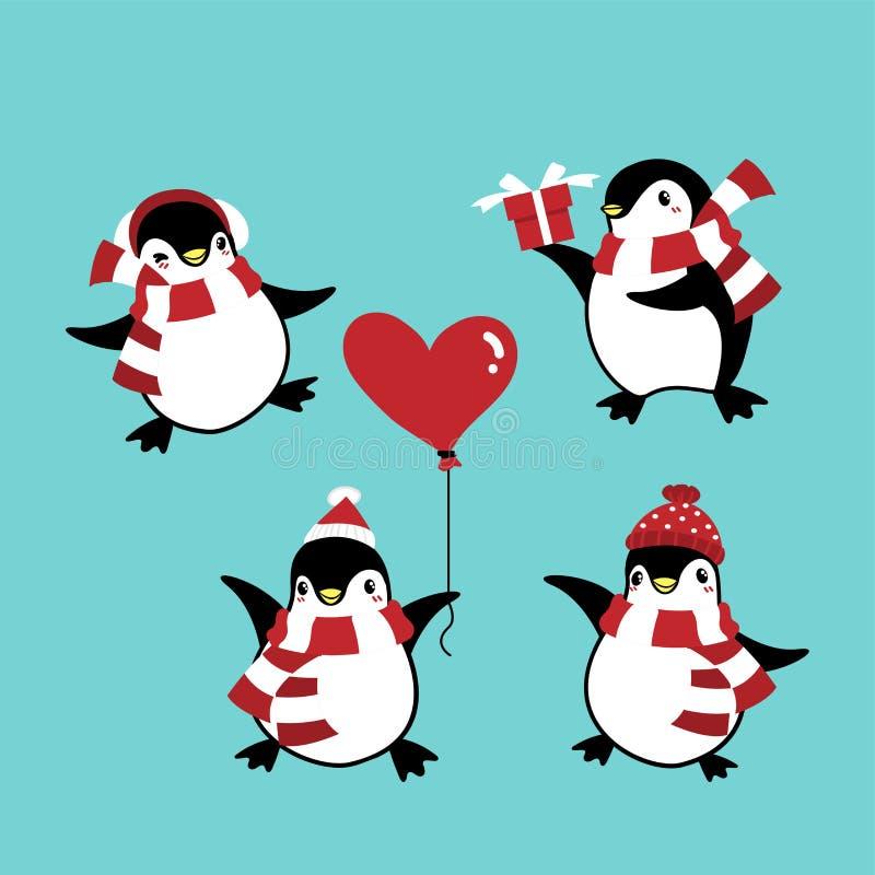 Set of penguins in winter custom for Christmas holiday season. royalty free illustration