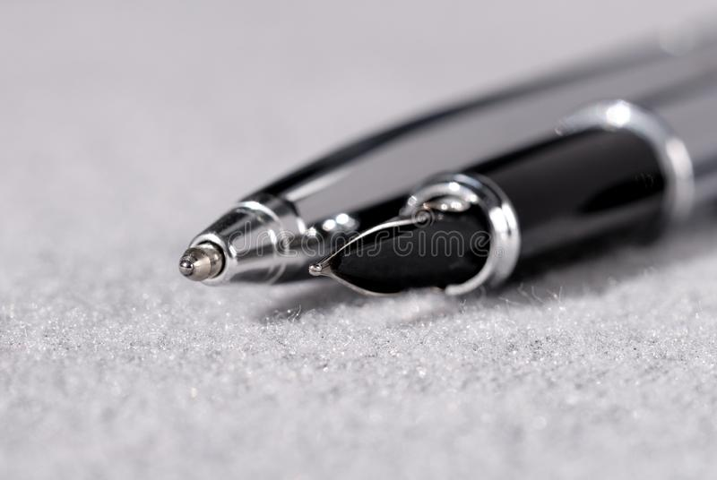Set of pens for writing on a light background. Shallow depth of field. Set of pens for writing on a light background closeup. Shallow depth of field royalty free stock images