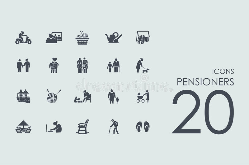 Set of pensioners icons vector illustration
