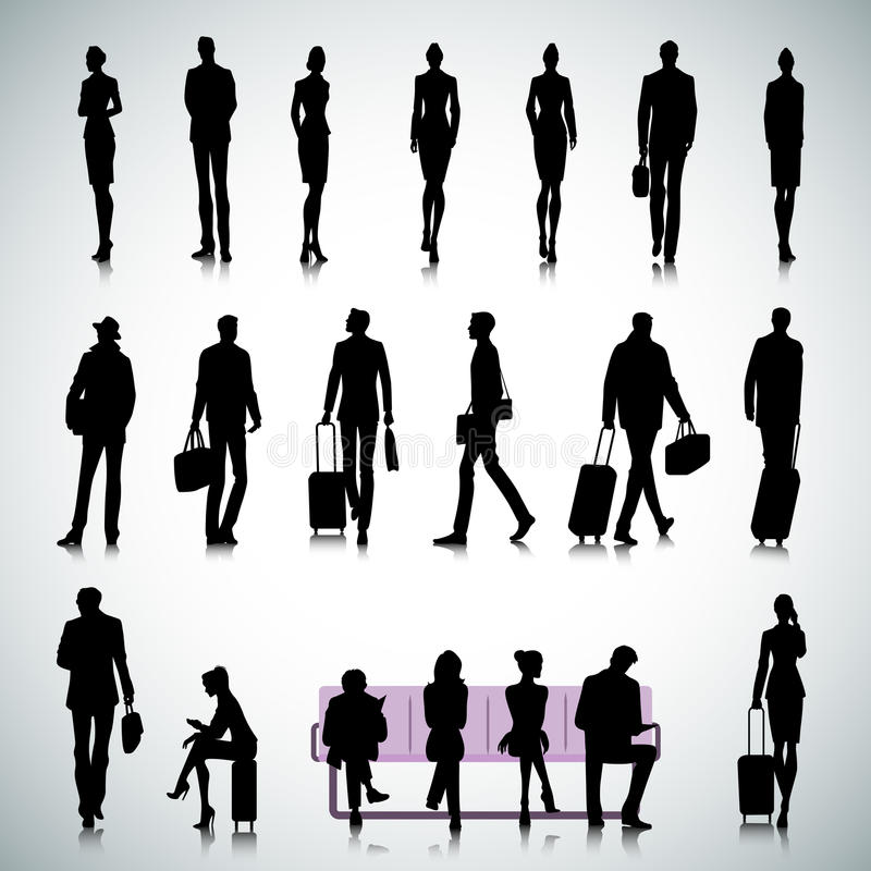 Set of people in an airport stock illustration