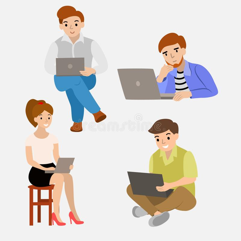 Set of people behind the laptop are different funny royalty free illustration
