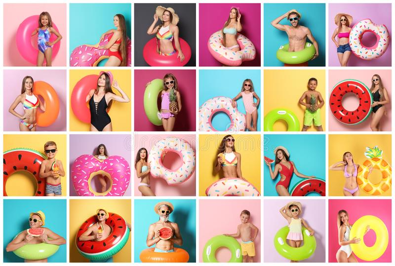 Set of people with bright inflatable rings stock photos