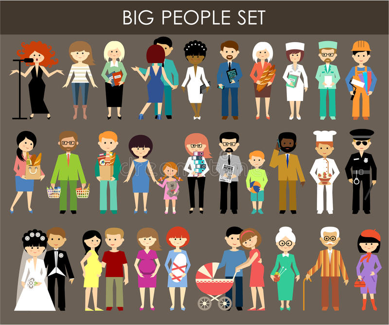 Set of people of different professions and ages. royalty free illustration