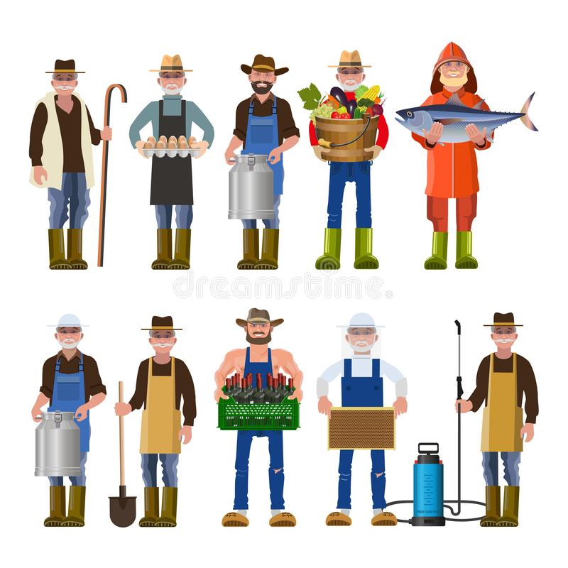 Set of people of different professions. Set of people of different agricultural professions. Vector illustration isolated on white background stock illustration