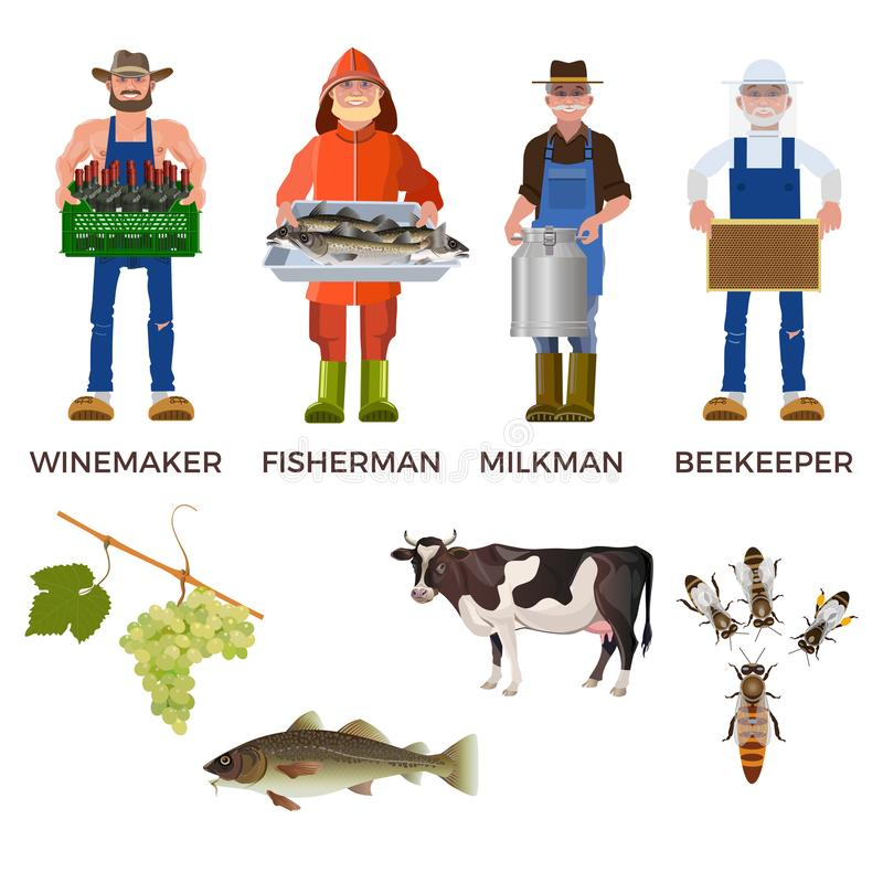 Set of people of different professions. Together with its products: winemaker, fisherman, milkman and beekeeper. Vector illustration isolated on white stock illustration