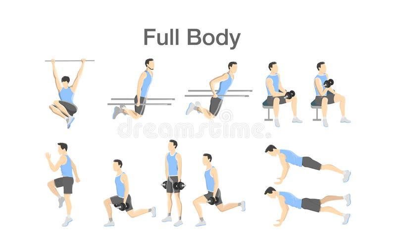 Set of people doing exercises in the gym. Workout with dumbbell for different groups of muscles. Full body training for men. Isolated flat vector illustration vector illustration