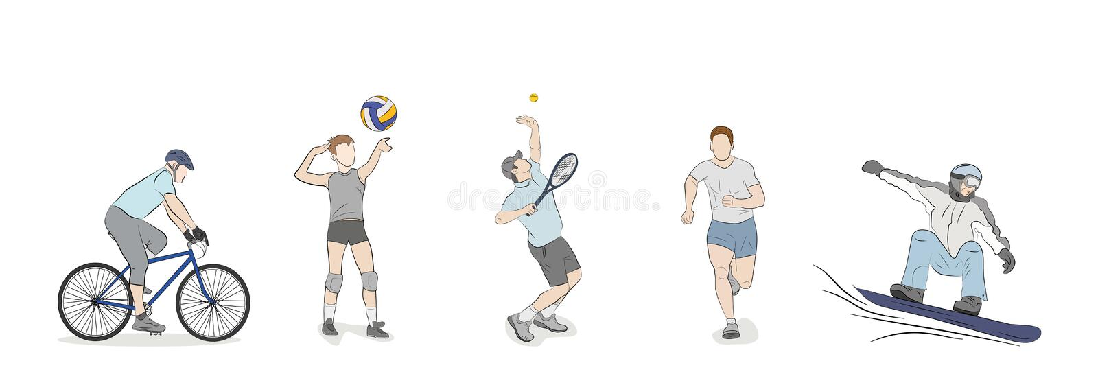 A set of people are engaged in different kinds of sports. royalty free illustration