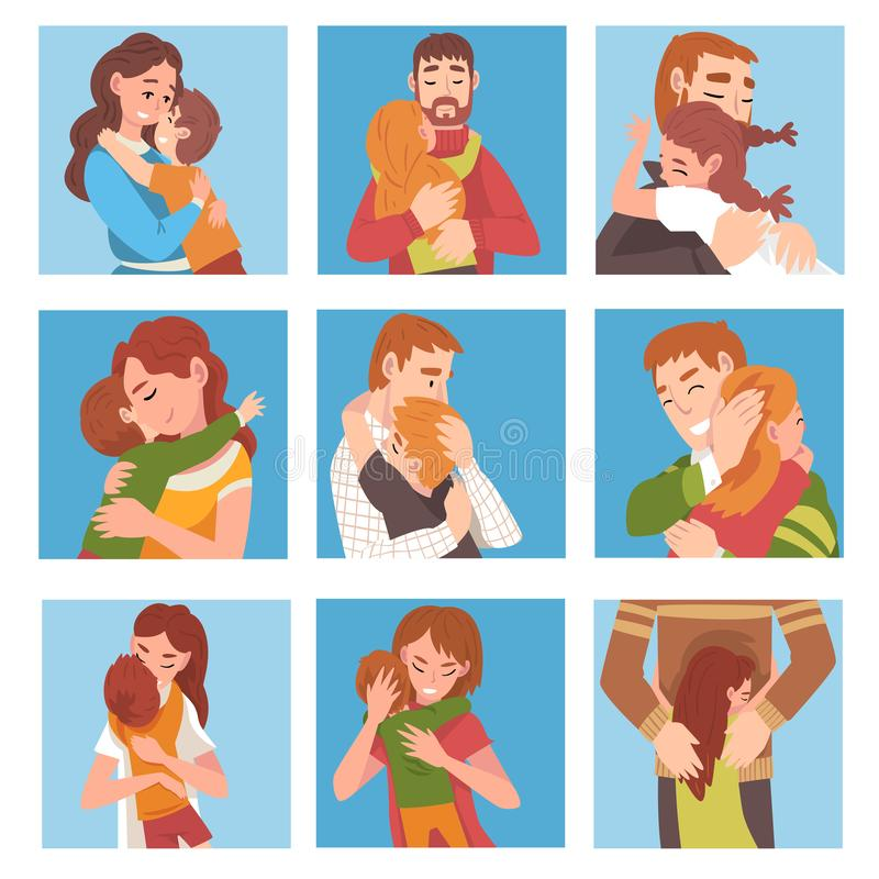 Set of people. Family characters are hugging cartoon vector illustration. Set of people. Family characters are hugging on the blue background. Mother and son stock illustration