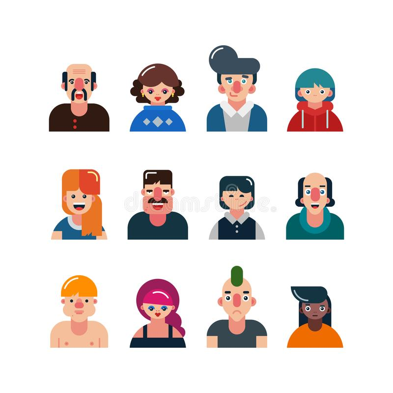 Set of people flat avatars. male and female faces. funny men and women characters. vector illustration stock illustration