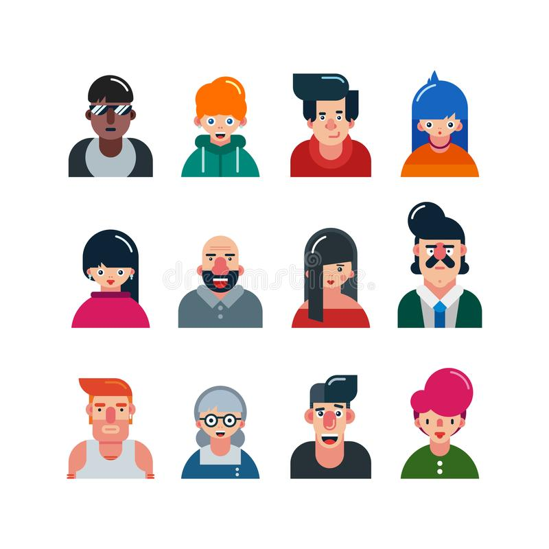 Set of people flat avatars. male and female faces. funny men and women characters. vector illustration royalty free illustration