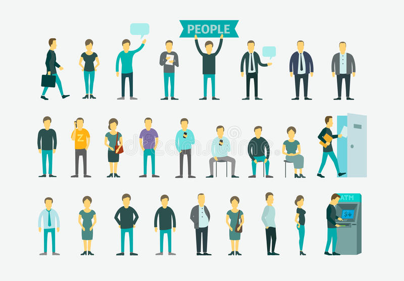 Set with people flat conception vector vector illustration