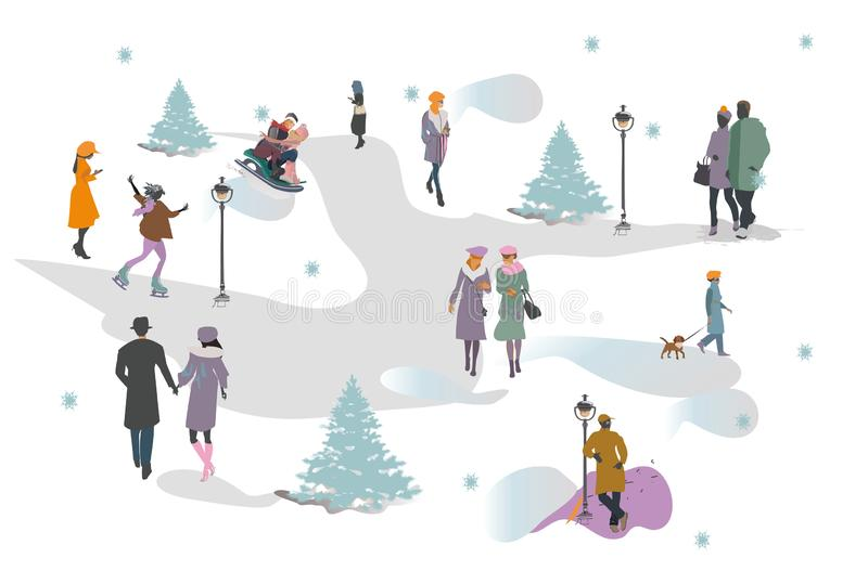 Set of people having rest in the park in winter. Active leisure outdoor activities. royalty free illustration
