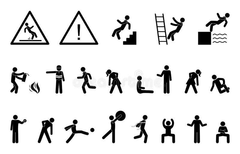 Set people icon, action pictogram black, stick figure human silhouettes. royalty free stock photos