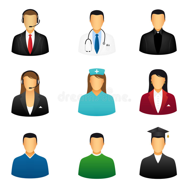 Download Set of people icons stock vector. Image of customer, graduate - 19933322