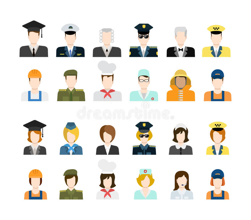 Set of people icons in flat style with faces. Set of people workers in uniform icons in flat style with faces. Vector men and women character. Template concept vector illustration