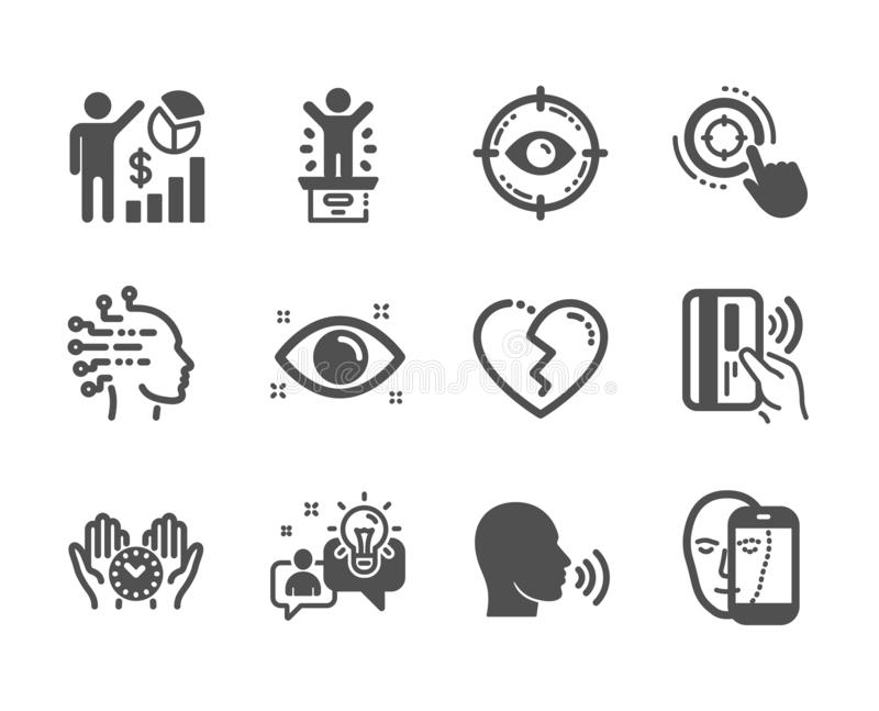 Set of People icons, such as Safe time, Health eye, Idea. Vector. Set of People icons, such as Safe time, Health eye, Idea, Human sing, Winner podium, Broken stock illustration
