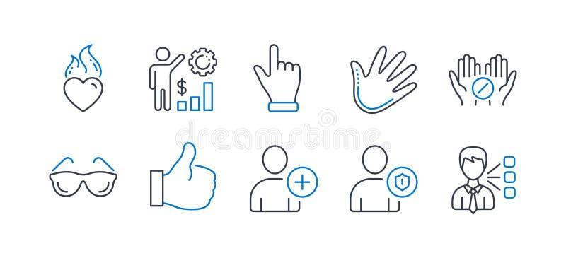 Set of People icons, z. B. Click hand, Add user Vector vektor abbildung