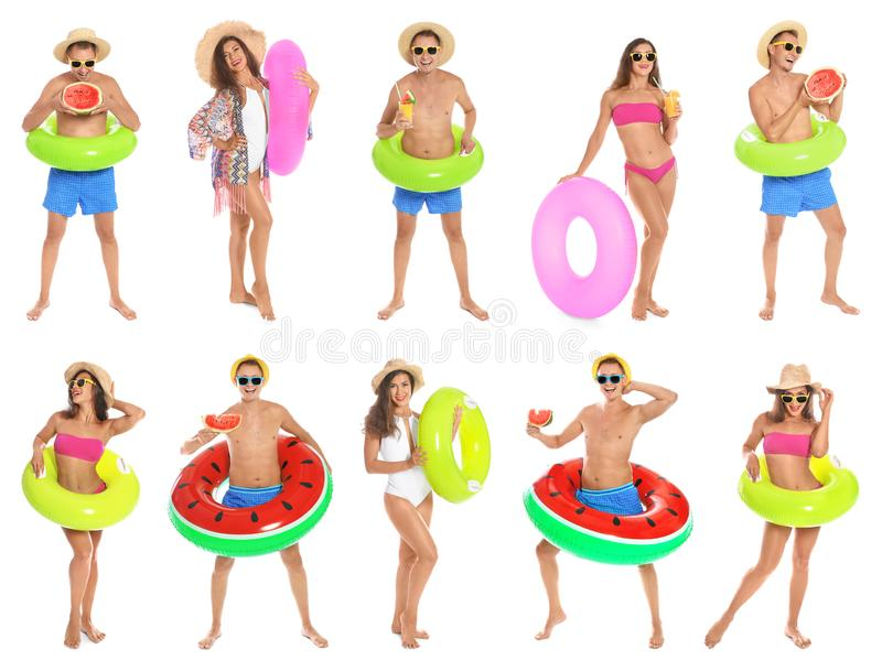 Set of people with inflatable rings royalty free stock photography