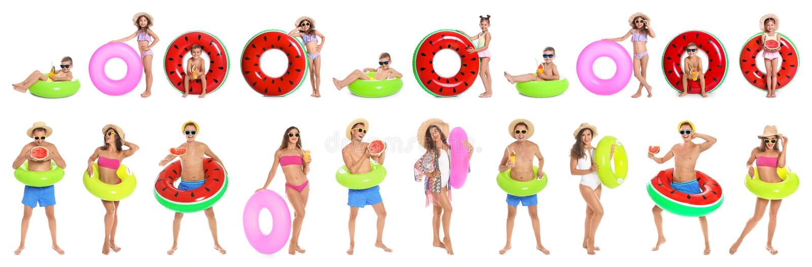 Set of people with inflatable rings stock image