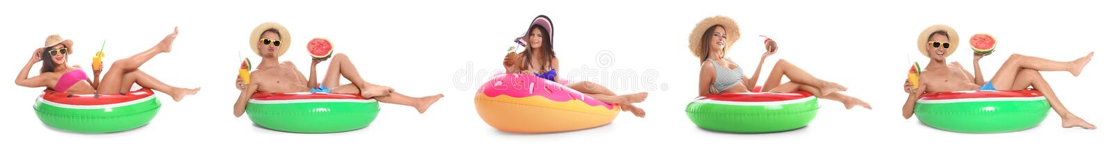 Set of people with inflatable rings on white stock image