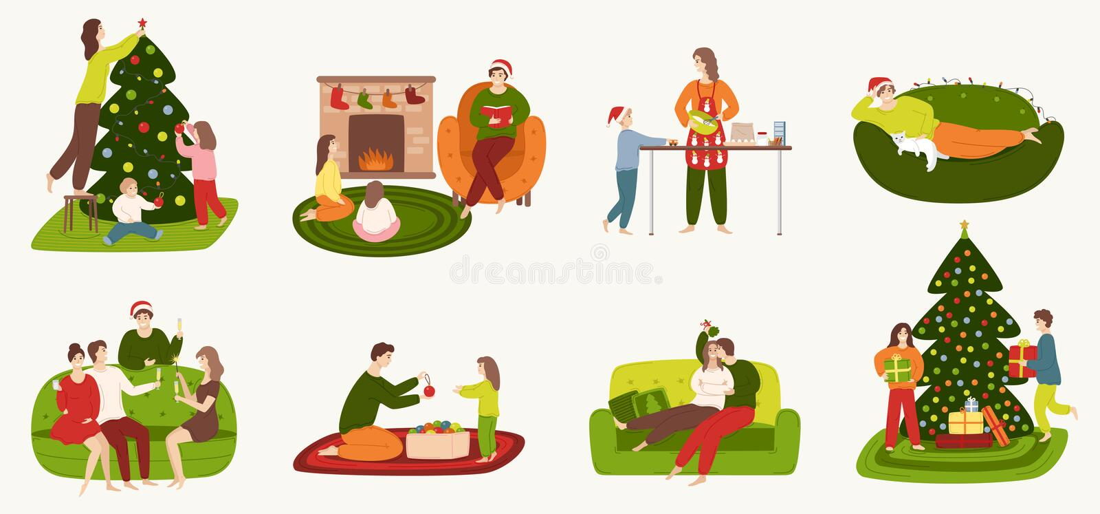 A set of people involved in preparing for the winter holidays and resting at home. vector illustration