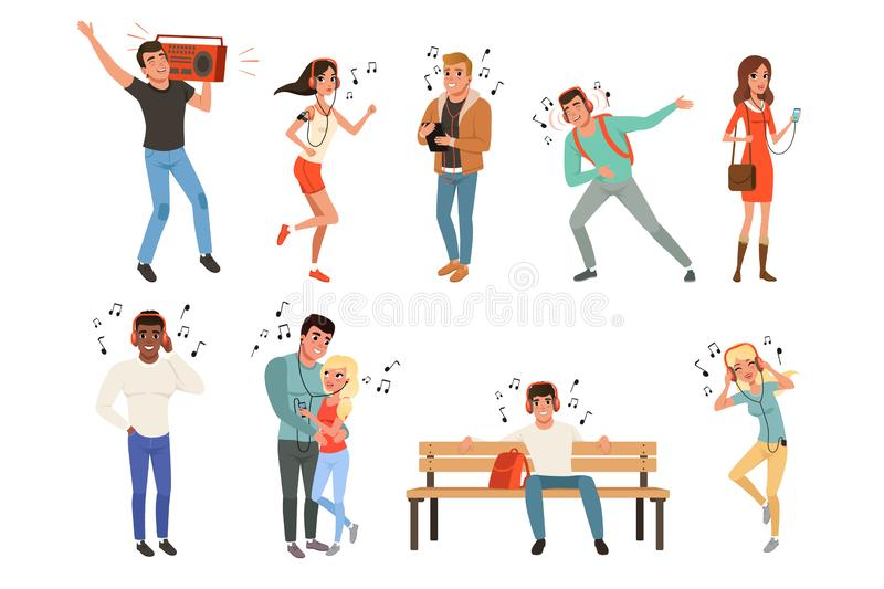 Set with people listening music. Young guys and girls with headphones, smartphones, record player. Flat vector design. Set with people listening music. Young vector illustration