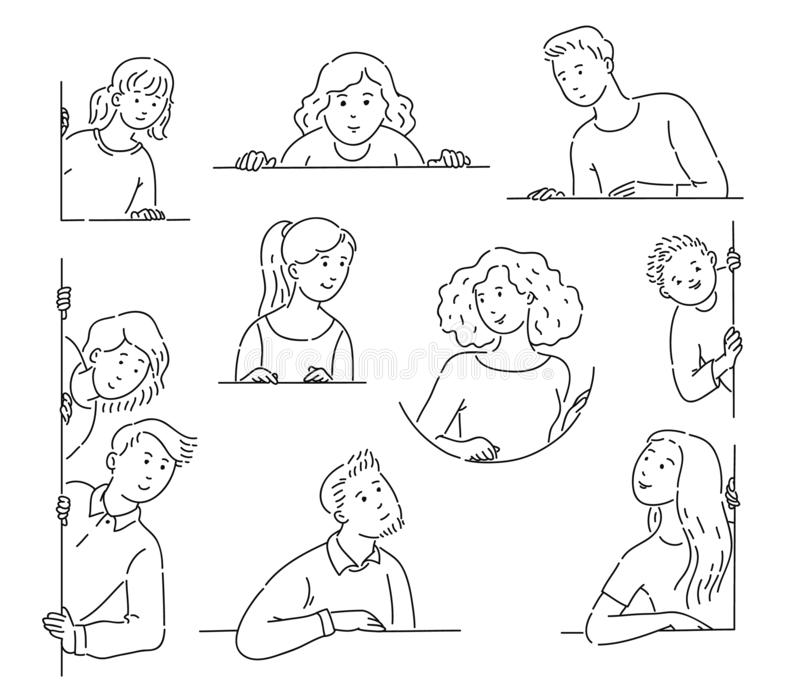 Set of people, men and women, looking out the window with lines and outline style. People collection with a window behind. Set of people, men and women, looking vector illustration