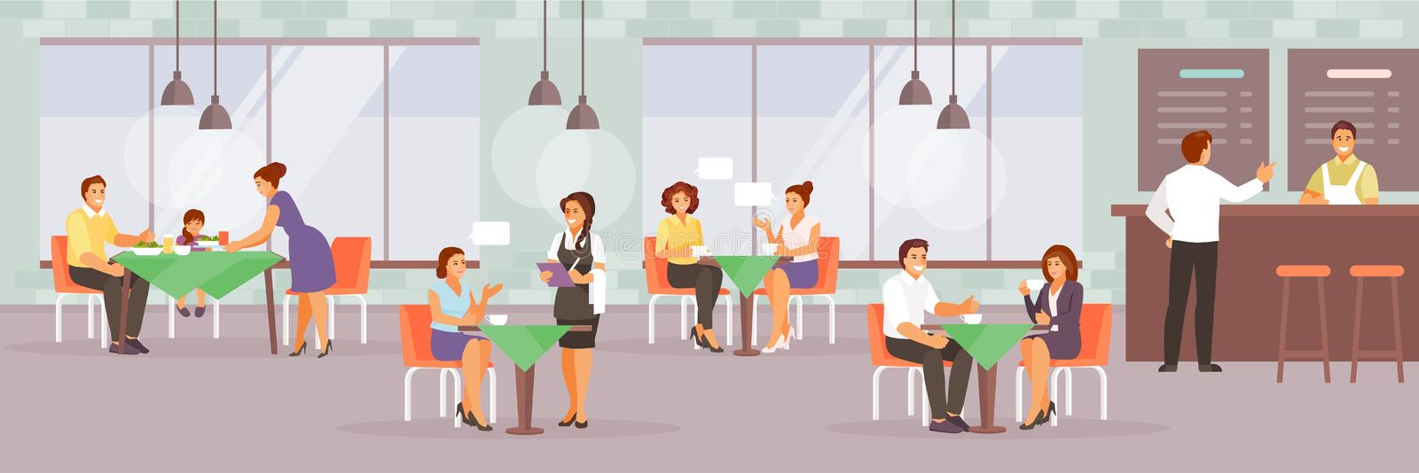 People in cafe vector royalty free illustration
