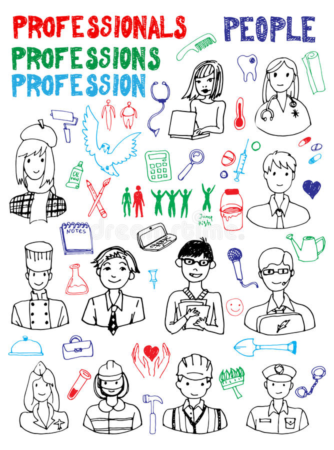 People Occupations Jobs And Community At: Set Of People Occupations Doodles Stock Vector
