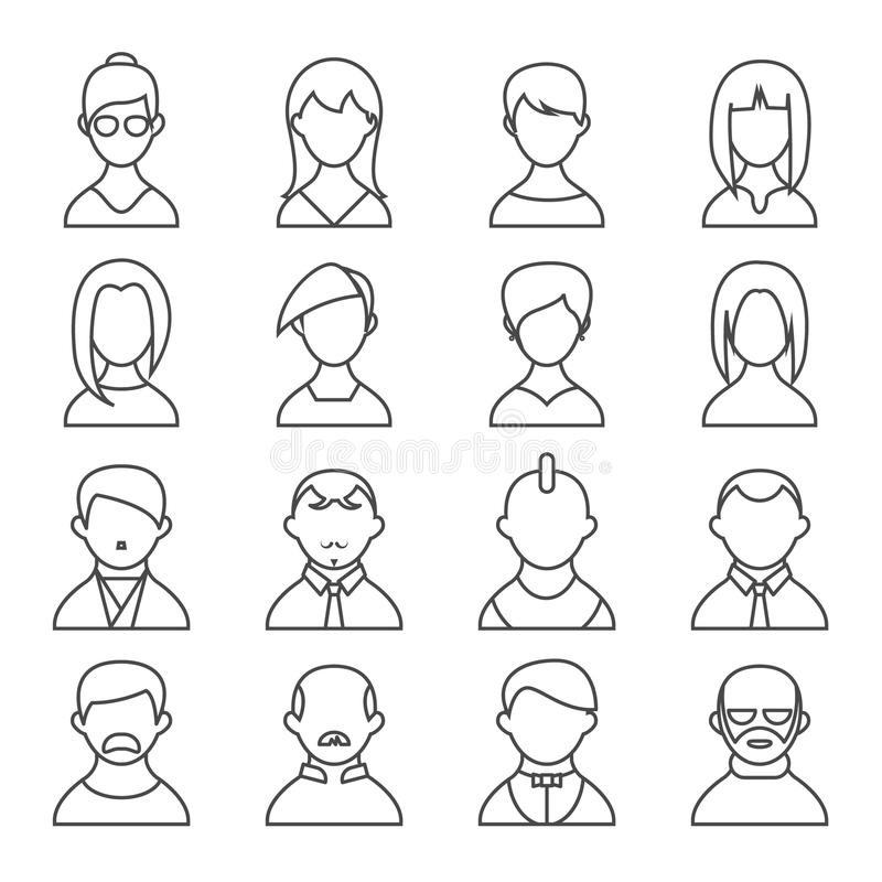 Download Set Of People Outline Icons Stock Vector - Image: 42703660