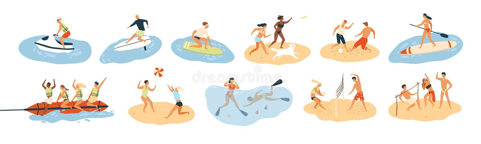 Set of people performing summer sports and leisure outdoor activities at beach, in sea or ocean - playing games, diving stock illustration