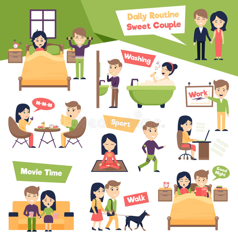 Set Of Daily People vector illustration