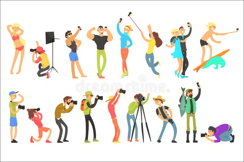 Flat vector set of people taking pictures. Selfie and professional photographs. Photographers with digital cameras. Guys. Set of people taking pictures. Selfie royalty free illustration