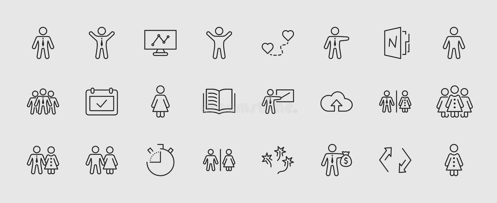 Set of people vector line icons. It contains the symbols of a man, a woman, a family, a toilet, a businessman, a teacher royalty free illustration