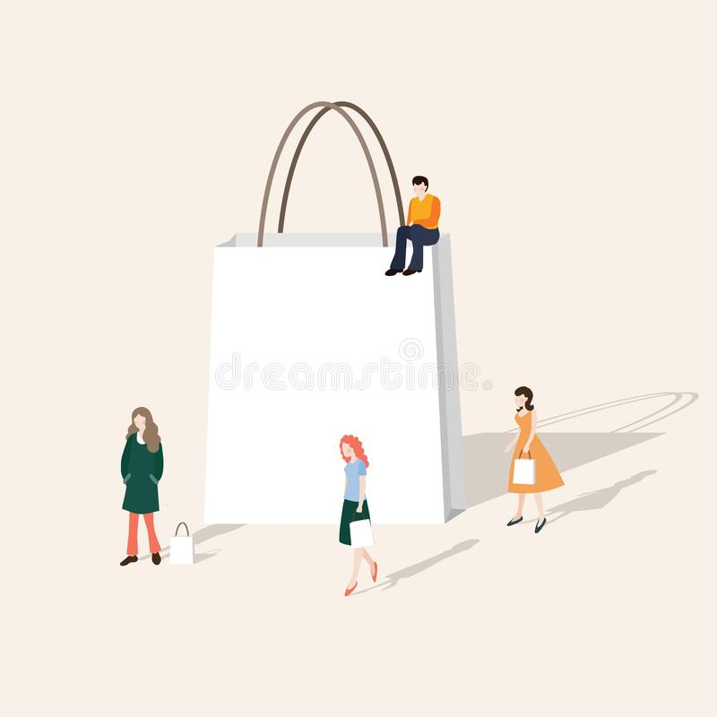 Set of people walking and shopping. Blank paper gift bag. Business concept. Modern web page, banner, flat design stock illustration