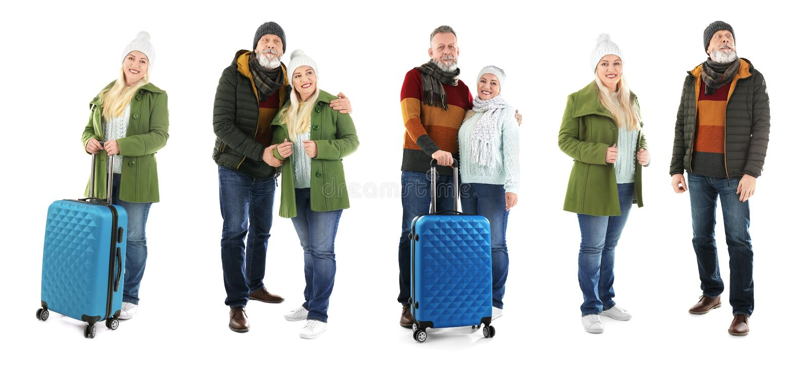 Set with people in warm clothes and suitcases on white background stock image