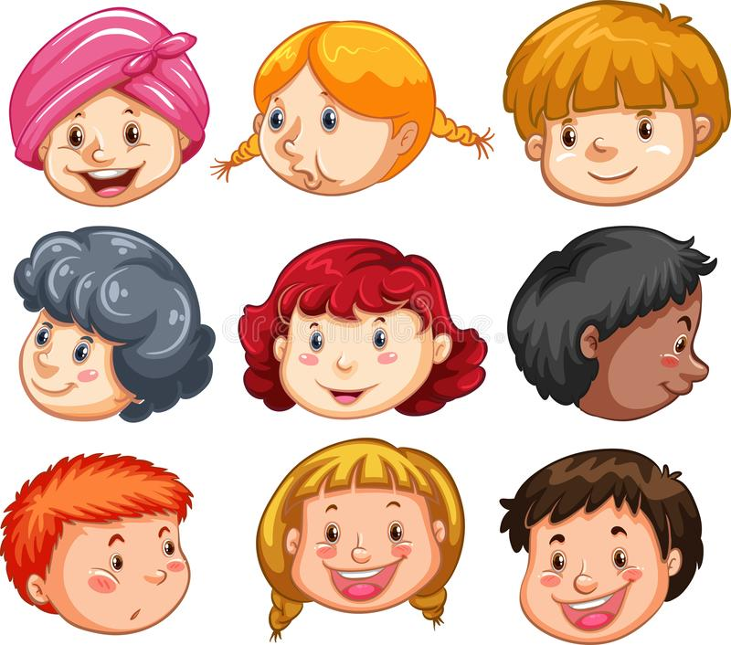 Set of peoples heads vector illustration