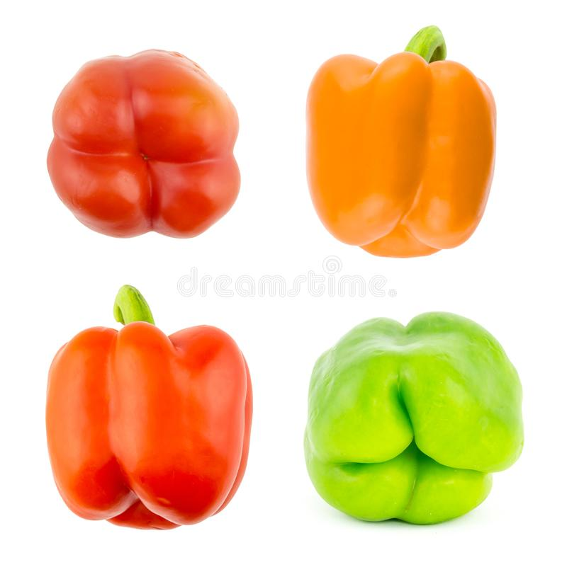 Set pepper bulgarian red yellow green large juicy vegetables base design healthy eat diet stock photography