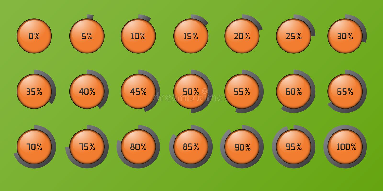 Set of the percent circles icons vector illustration
