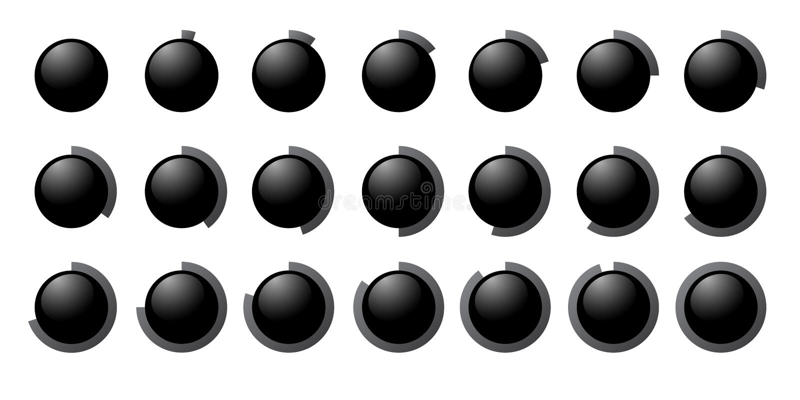 Set of the percent circles icons. royalty free illustration
