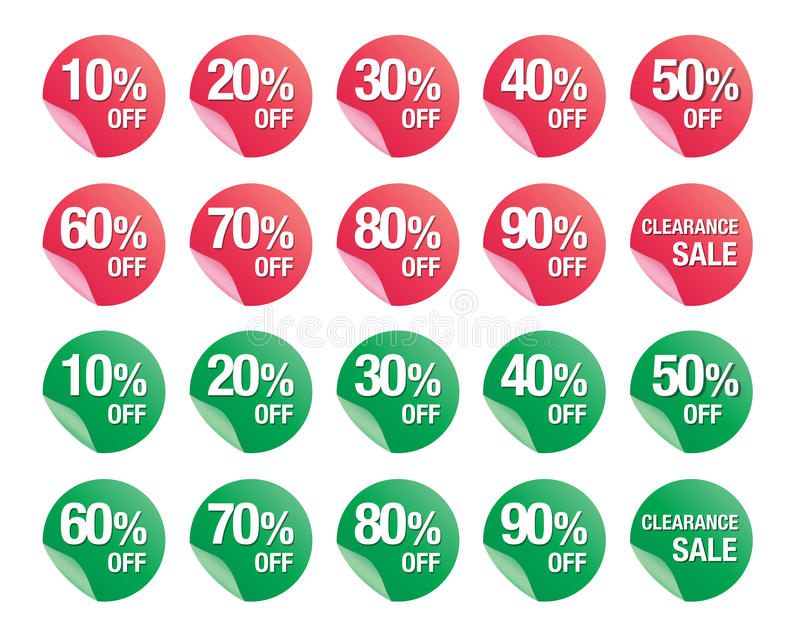 Set of percent discount sign icons, sale symbol, sales vector stock illustration
