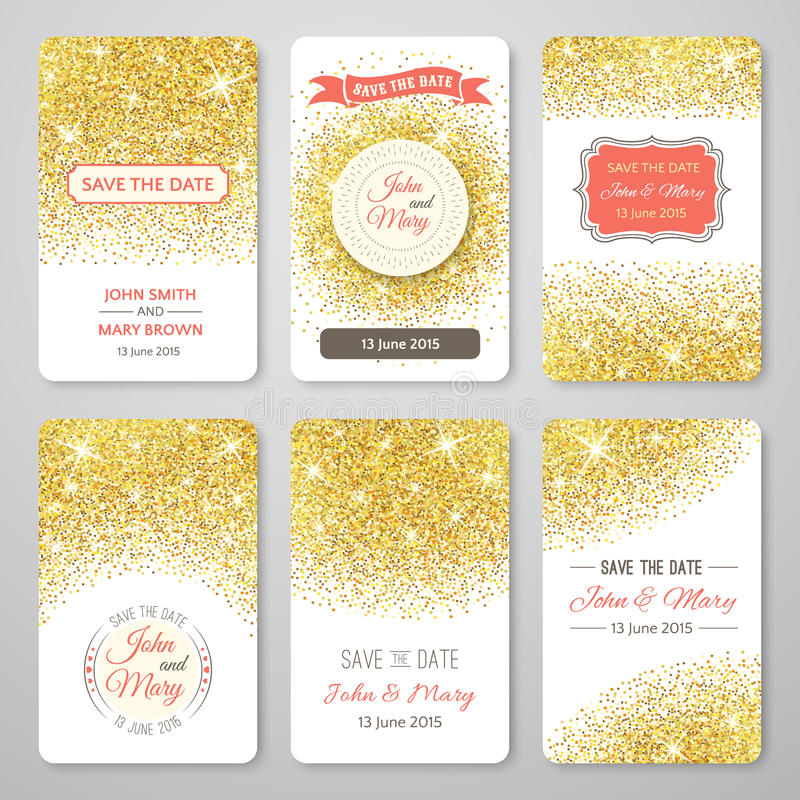 Set of perfect wedding templates with golden royalty free illustration